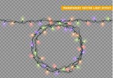 Slingers, de lichteffecten van Kerstmisdecoratie vector illustratie