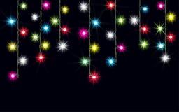 Slingers, de lichteffecten van Kerstmisdecoratie Geïsoleerde Vectorontwerpelementen Het gloeien lichten voor de groetkaart van de stock illustratie