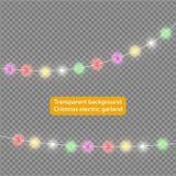 Slingers, de lichteffecten van Kerstmisdecoratie Geïsoleerde Vectorontwerpelementen Het gloeien lichten voor de groetkaart van de vector illustratie