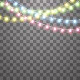Slingers, de lichteffecten van Kerstmisdecoratie Ge?soleerde Vectorontwerpelementen Het gloeien Lichten voor Kerstmisvakantie vector illustratie