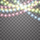 Slingers, de lichteffecten van Kerstmisdecoratie Ge?soleerde Vectorontwerpelementen Het gloeien Lichten voor Kerstmisvakantie royalty-vrije illustratie