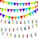 Slingers van vlaggen en gekleurde lampen Decoratie op whi worden geïsoleerd die stock illustratie