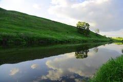Slingrande flod i mitt av en skog i solig dag Arkivbilder