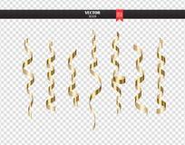 Slingrande konfettier för guld- lockigt band Guld- banderolluppsättning på genomskinlig bakgrund Färgrikt designgarneringparti royaltyfri illustrationer