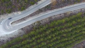 Slingrande väg för berg till och med skogen arkivfilmer