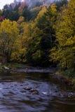 Slingrig flod - nedgång/Autumn Colors - Vermont Fotografering för Bildbyråer