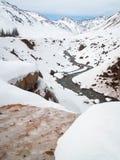 Slingrig flod till och med den snöig dalen Royaltyfri Fotografi