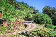 Slingrig väg i berget Royaltyfri Fotografi