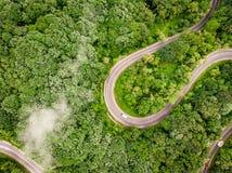 Slingrig väg i skogen som beskådas från över Antenn som skjutas av en t Royaltyfria Bilder