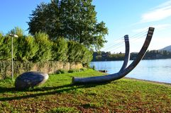 Slingshot on Lake Orta Royalty Free Stock Photography