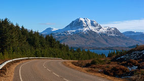 Slioch and loch Maree from A832 stock photography