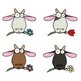 Slip-art funny face different goats that chew flowers. Stock Photos
