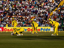 Slip Cordon Cricket. View of the slip cordon in cricket with wicket-keeper Brad Haddin. Shane Watson and Aaron Finch.are in the slips Stock Image