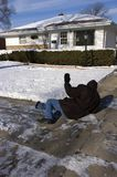 slip för trottoar för olycksfallutgångspunkt icy royaltyfri fotografi