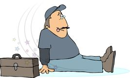 Slip & fall. This illustration depicts a man who has slipped on the ice Royalty Free Stock Photo