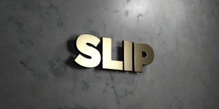 Slip - Gold sign mounted on glossy marble wall  - 3D rendered royalty free stock illustration Stock Images