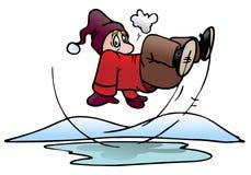 Slip on ice pool. Illustration of a man slip on ice pool background Stock Photo