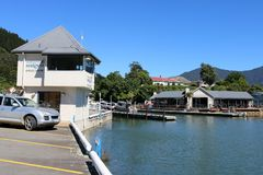 Slip Inn and Marina building Havelock New Zealand. View of several buildings around Havelock marina in Havelock, Marlborough region, South Island, New Zealand Stock Photography