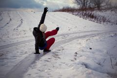 Slip on the slippery ice and snow on the road track at the country in freezing winter day Stock Photography
