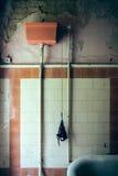 Slip on a toilet flush Stock Photo