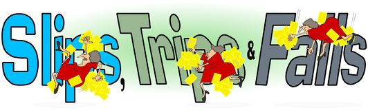 Slip, trip and fall, female worker. Illustration of the words, slips, trips and falls with a female worker in mirroring the actions Royalty Free Stock Photography