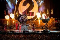 Slipknot concert. American heavy-metal band Slipknot performing at Olimpiyski stadium, Moscow during Memorial World Tour stock photo