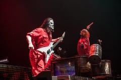 Slipknot concert. American heavy-metal band Slipknot performing at Olimpiyski stadium, Moscow during Memorial World Tour stock photos