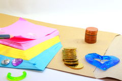 Slippad, coins, envelop and love Stock Photography