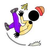 Slipped from banana peel. Silhouette-man unlucky day - slipped from banana peel Royalty Free Stock Image
