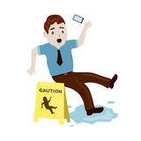 Slipped on a wet floor. Flat illustration Stock Images