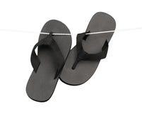 Black slipper isolated on white  Stock Image