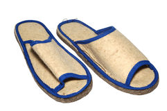 Slipper. 2 beige slippers for bath Royalty Free Stock Images