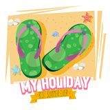 Slipper on the beach with tropical typographic design - vector Royalty Free Stock Photography