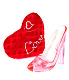 Slipper and Cinderella\'s heart Royalty Free Stock Photos