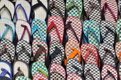 Slipper in colors. Slipper made by bamboo and grass showing as tile and pattern Stock Image