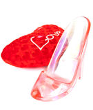 Slipper and heart for Valentine\'s Day Stock Photo