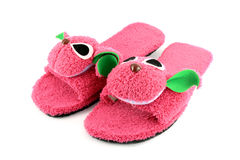 Slipper that made as pink on white. Background Royalty Free Stock Photography
