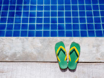 Slipper by the Pool Holiday Summer Background Royalty Free Stock Image