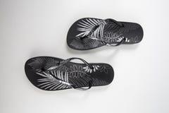 Slipper Rubber Brazil. Female Slipper on Black Background,  Product, Top View Stock Image