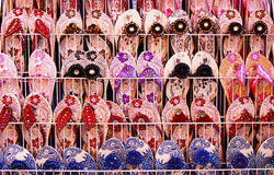 Slippers. Colourful tropical footwear on display Royalty Free Stock Photos