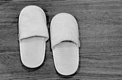 Slippers in the bathroom, black & white style Royalty Free Stock Photography
