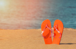 Slippers on the beach Stock Image