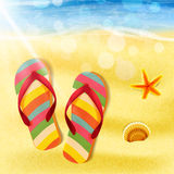 Slippers on the beach summer Stock Image