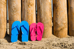 Slippers on the beach Royalty Free Stock Image