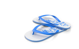 Slippers for the beach on a white background. 3D rendering. Comfortable rubber Slippers for the beach, pool with a beautiful pattern. Presented on a white Royalty Free Stock Images