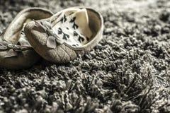 Slippers. On carpet, living room Stock Photos