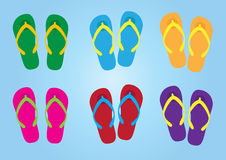 Slippers with colorful colors for holiday, slippers vector Royalty Free Stock Image