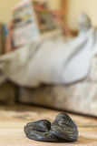 Slippers in front of man resting on the sofa Stock Images