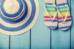 Slippers and hat Royalty Free Stock Image