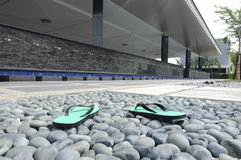 Slippers infront of ablution of Puncak Alam Mosque at Selangor, Malaysia. SELANGOR, MALAYSIA – JANUARY 05, 2015: Puncak Alam Mosque located at Puncak Alam royalty free stock images